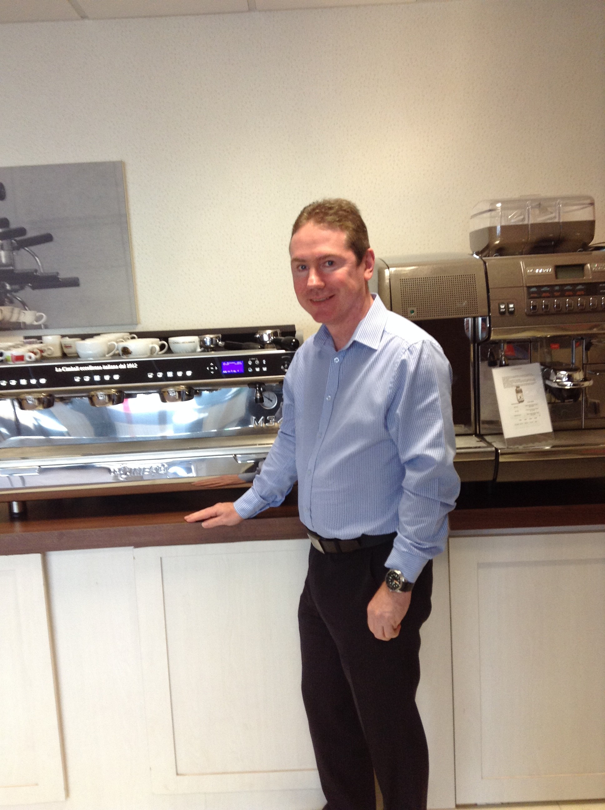 Keith Stanger with Cimbali Commercial coffee machines M34 and S39